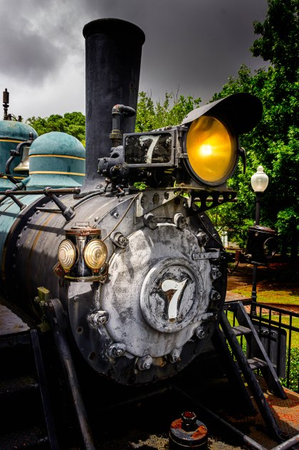 McDonough, Georgia / USA - June 9, 2019: An H.K. Porter Steam Engine stands on static display at Heritage Village in Heritage Park in McDonough, GA. This steam locomotive is similar to the Old No. 7 locomative that crashed on June 23, 1900 in heavy rain and killed 39 passengers.